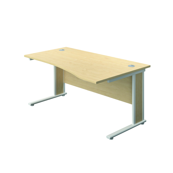 Jemini Double Upright Wooden Insert Right Hand Wave Desk 1600x1000mm Maple/White