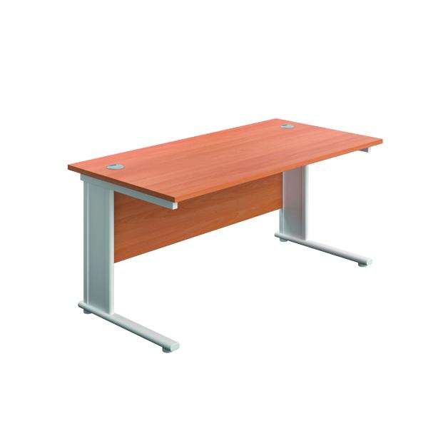 Jemini Double Upright Metal Insert Rectangular Desk 1400x600mm Beech/White
