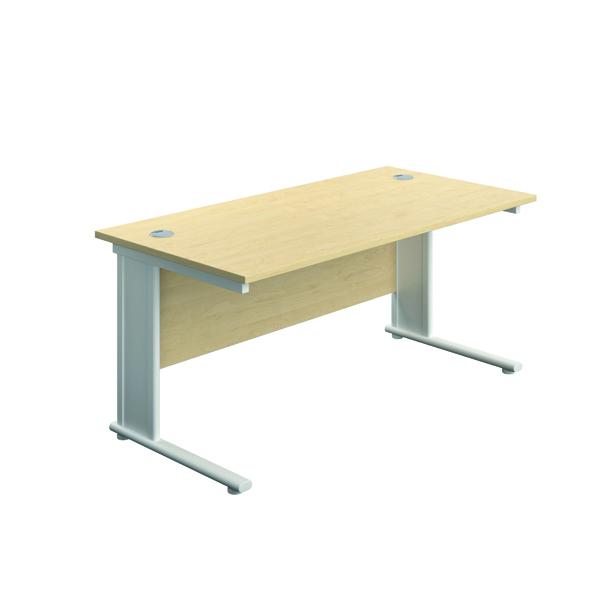 Jemini Double Upright Metal Insert Rectangular Desk 1400x600mm Maple/White