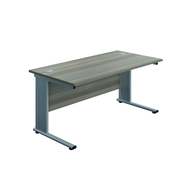 Jemini Double Upright Metal Insert Rectangular Desk 1600x600mm Grey Oak/Silver