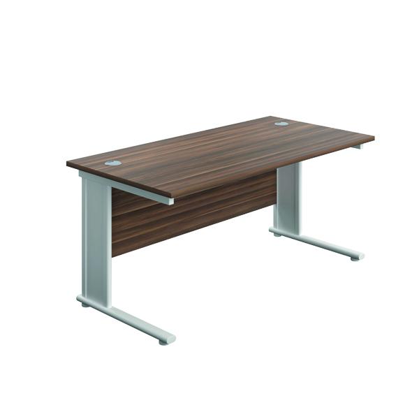 Jemini Double Upright Metal Insert Rectangular Desk 1600x600mm Dark Walnut/White