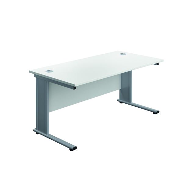 Jemini Double Upright Metal Insert Rectangular Desk 1800x600mm White/Silver