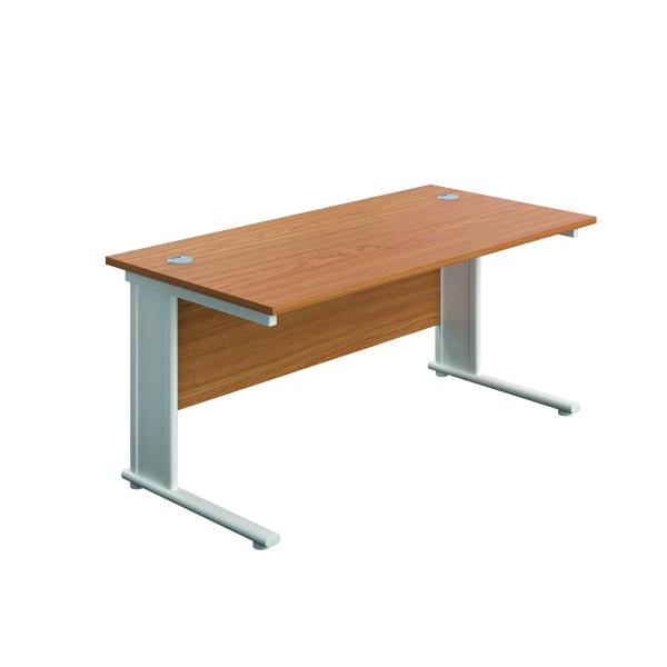 Jemini Double Upright Metal Insert Rectangular Desk 1800x600mm Nova Oak/White