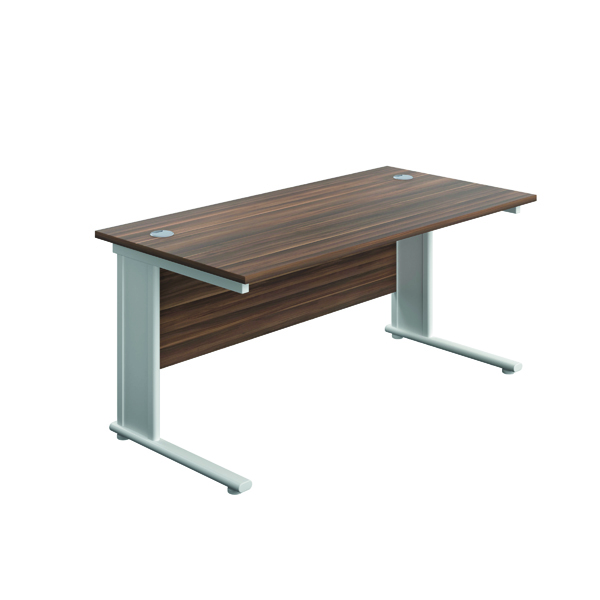 Jemini Double Upright Metal Insert Rectangular Desk 1800x600mm Dark Walnut/White