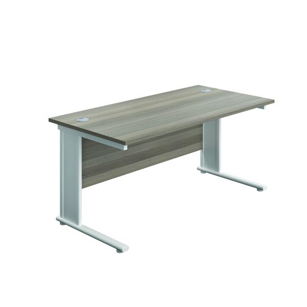 Jemini Double Upright Metal Insert Rectangular Desk 1200x800mm Grey Oak/White