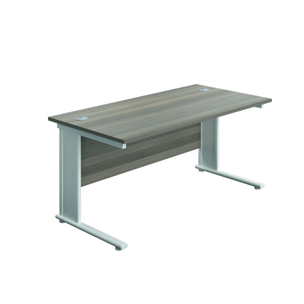 Jemini Double Upright Metal Insert Rectangular Desk 1400x800mm Grey Oak/White