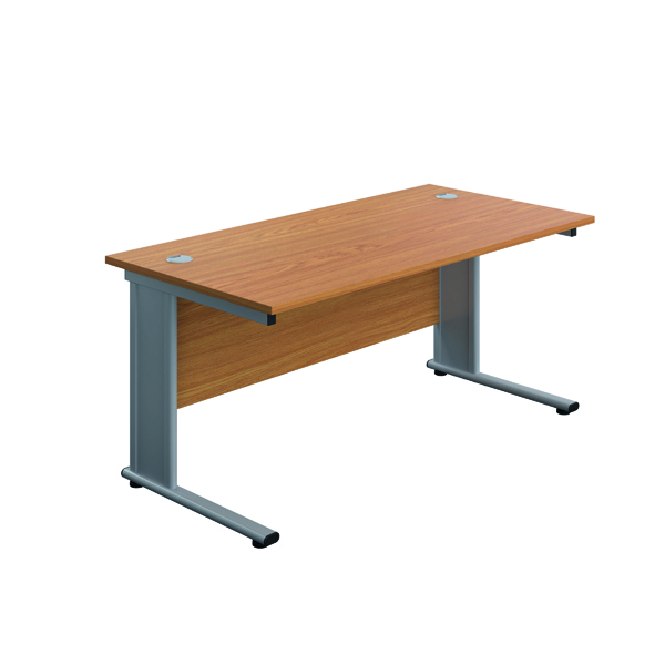 Jemini Double Upright Metal Insert Rectangular Desk 1600x800mm Nova Oak/Silver