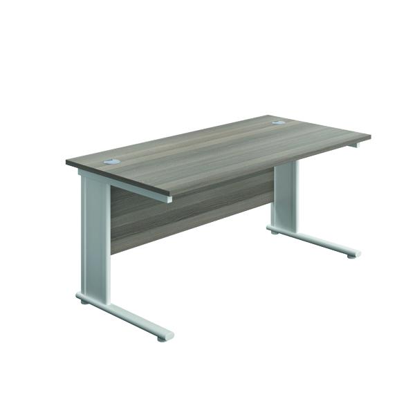 Jemini Double Upright Metal Insert Rectangular Desk 1600x800mm Grey Oak/White