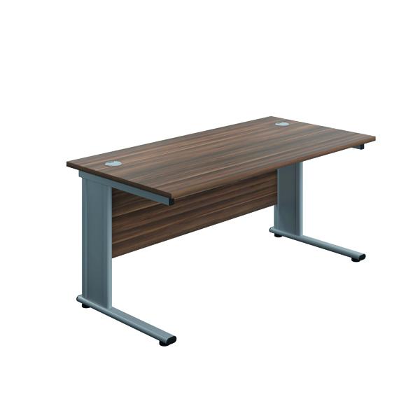 Jemini Double Upright Metal Insert Rectangular Desk 1800x800mm Dark Walnut/Silver