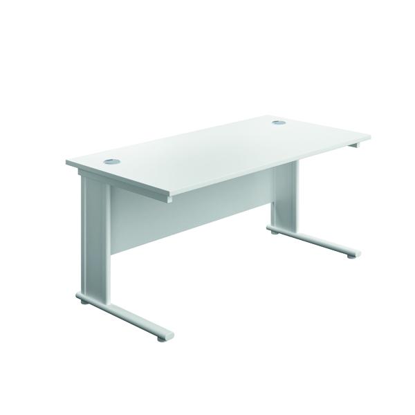 Jemini Double Upright Metal Insert Rectangular Desk 1800x800mm White/White