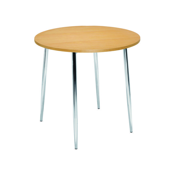 Arista Beech/Chrome 800mm Round Bistro Table KF815146