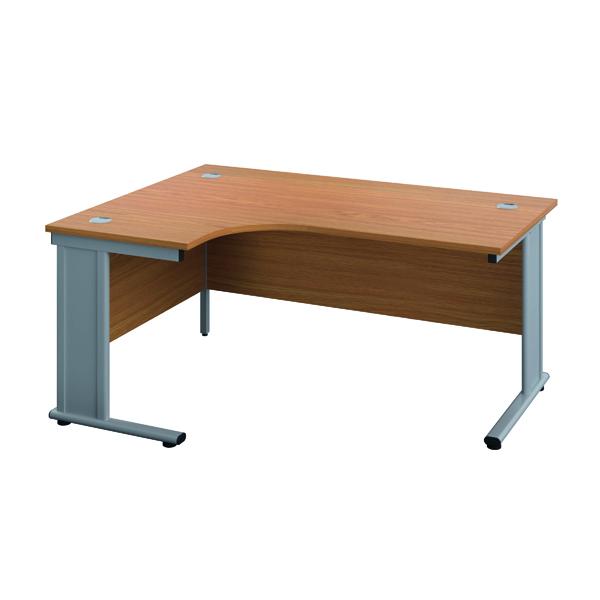 Jemini Double Upright Metal Insert Left Hand Radial Desk 1600x1200mm Nova Oak/Silver