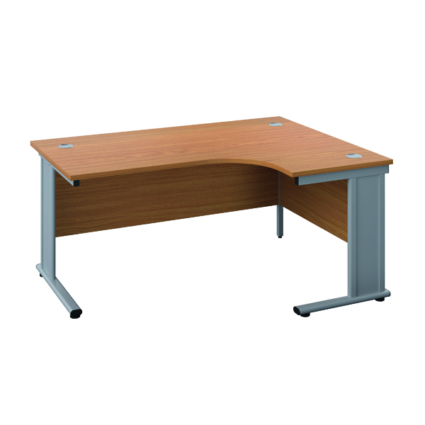 Jemini Double Upright Metal Insert Right Hand Radial Desk 1600x1200mm Nova Oak/Silver