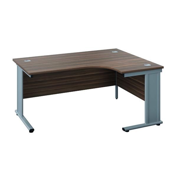 Jemini Double Upright Metal Insert Right Hand Radial Desk 1600x1200mm Dark Walnut/Silver