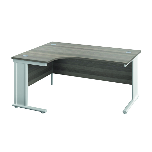 Jemini Double Upright Metal Insert Left Hand Radial Desk 1600x1200mm Grey Oak/White