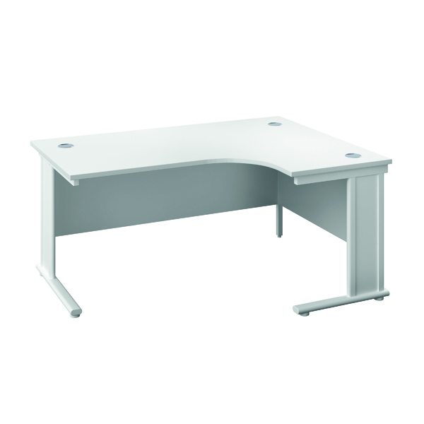 Jemini Double Upright Metal Insert Right Hand Radial Desk 1600x1200mm White/White