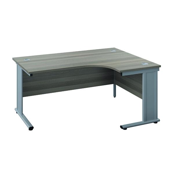 Jemini Double Upright Metal Insert Right Hand Wave Desk 1800x1200mm Grey Oak/Silver