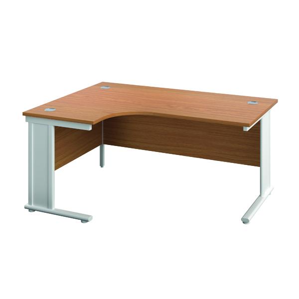 Jemini Double Upright Metal Insert Left Hand Wave Desk 1800x1200mm Nova Oak/White