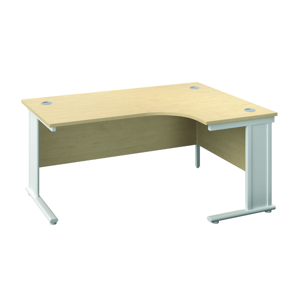 Jemini Double Upright Metal Insert Right Hand Wave Desk 1800x1200mm Maple/White