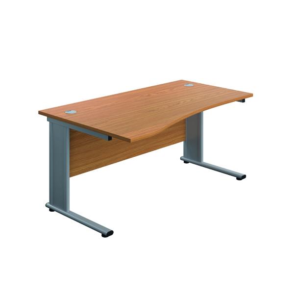 Jemini Double Upright Metal Insert Left Hand Wave Desk 1600x1000mm Nova Oak/Silver
