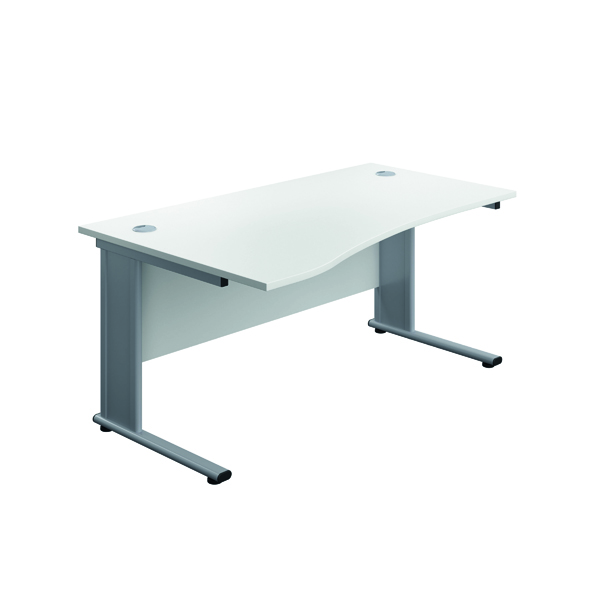 Jemini Double Upright Metal Insert Left Hand Wave Desk 1600x1000mm White/Silver