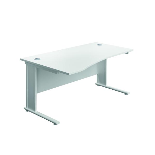 Jemini Double Upright Metal Insert Left Hand Wave Desk 1600x1000mm White/White