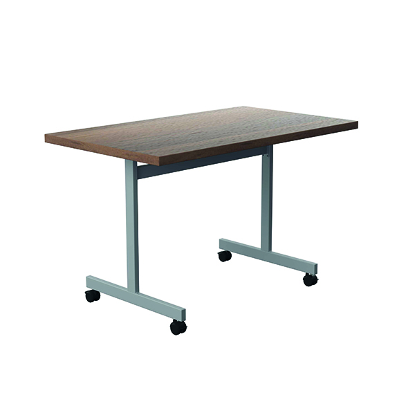 Jemini Tilting Table 1200 x 700mm Dark Walnut/Silver