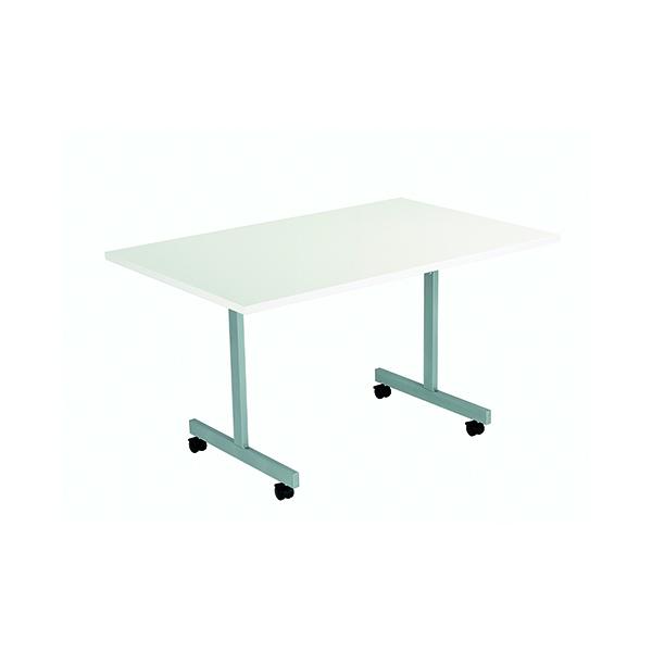 Jemini Rectangular Tilting Table 1200 x 800mm White/Silver