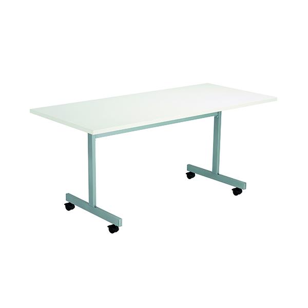 Jemini Rectangular Tilting Table 1600 x 700mm White/Silver
