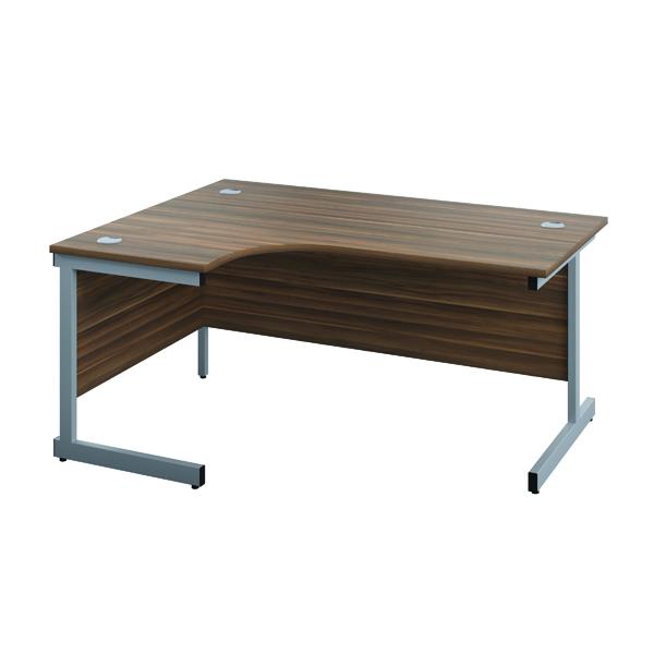 Jemini Left Hand Radial Desk 1200x1200mm Dark Walnut/Silver
