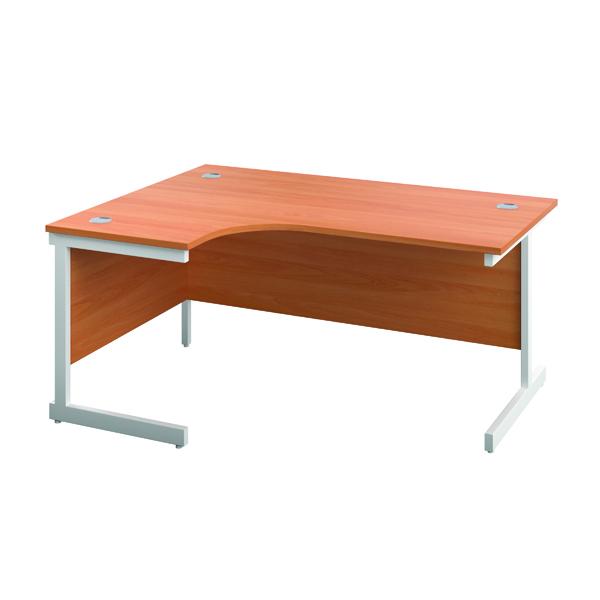 Jemini Left Hand Radial Desk 1200x1200mm Beech/White
