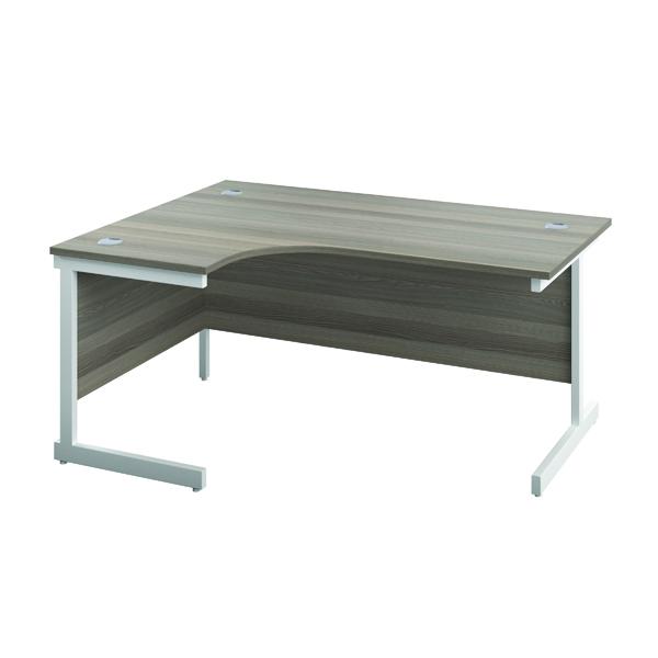 Jemini Left Hand Radial Desk 1200x1200mm Grey Oak/White