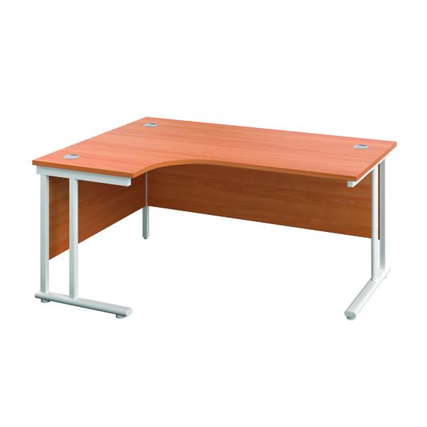Jemini Double Upright Left Hand Radial Cantilever Desk 1200x1200mm Beech/White