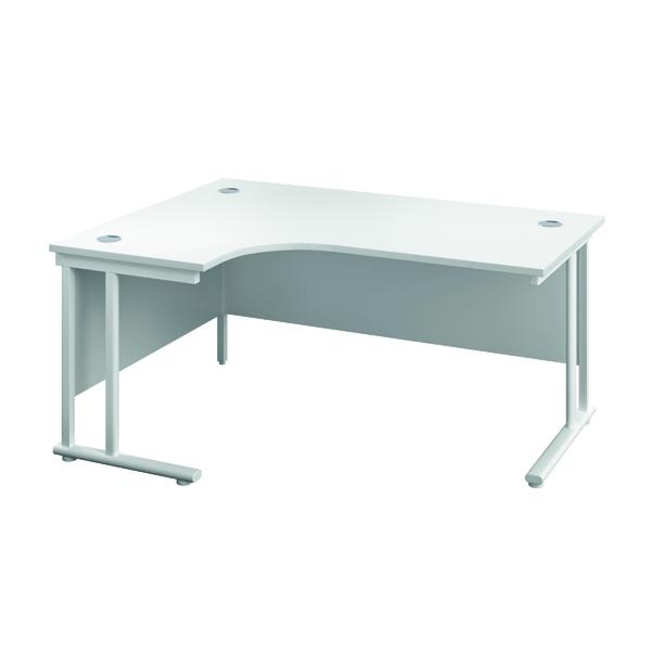 Jemini Double Upright Left Hand Radial Cantilever Desk 1200x1200mm White/White