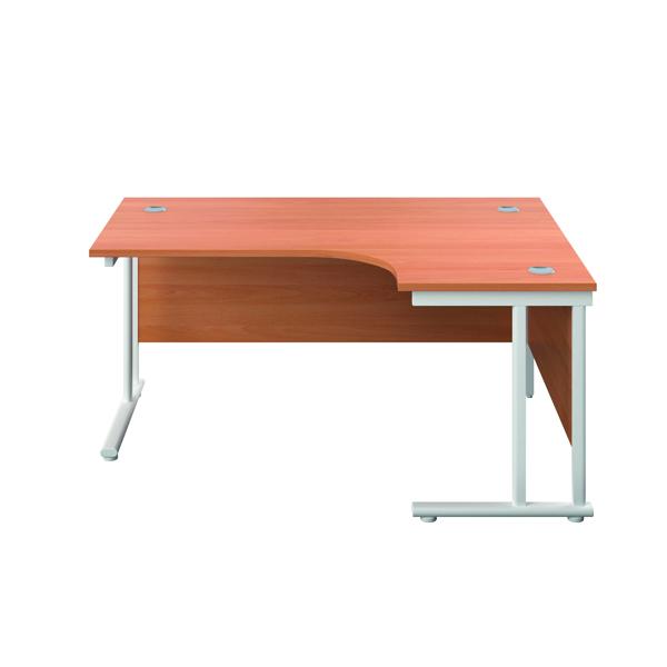 Jemini Double Upright Right Hand Radial Cantilever Desk 1200x1200mm Beech/White