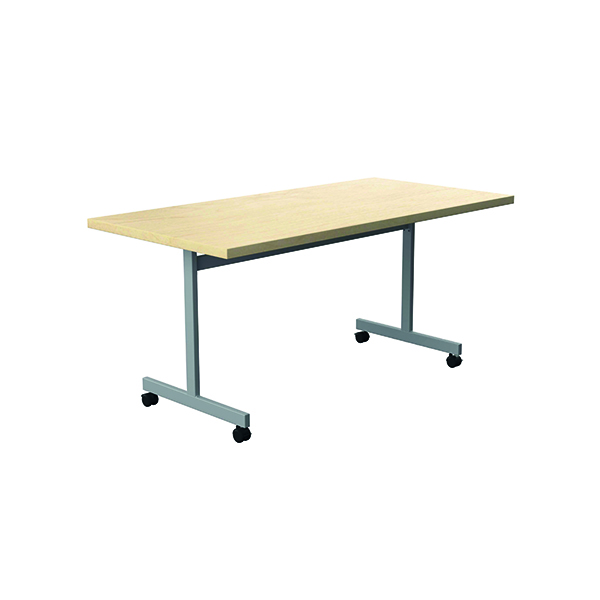 Jemini Rectangular Tilting Table 1800 x 800mm Maple/Silver