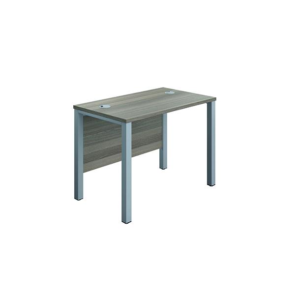 Jemini Goal Post Rect Desk 1000x600mmGrey Oak-Silver GP1060RECGOSV