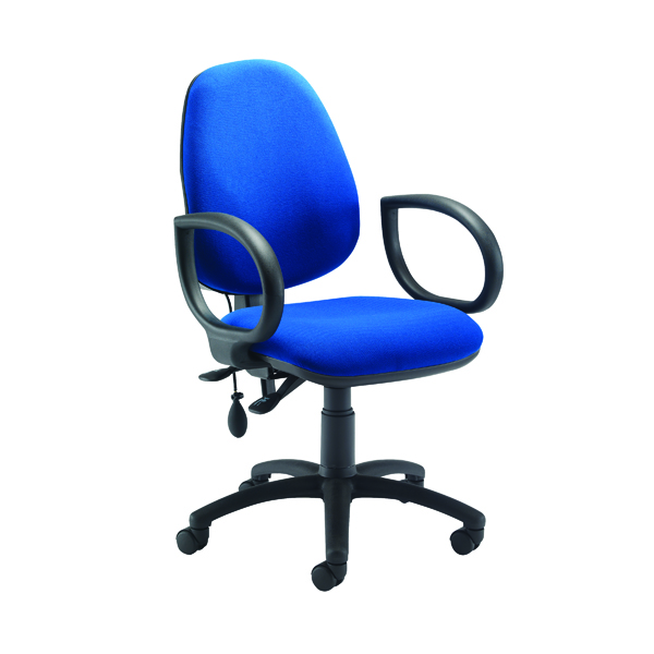 Jemini Intro High Back Posture Chair with Fixed Arms 640x640x990-1160mm Royal Blue