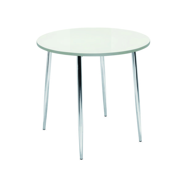 Arista White/Chrome 800mm Round Bistro Table