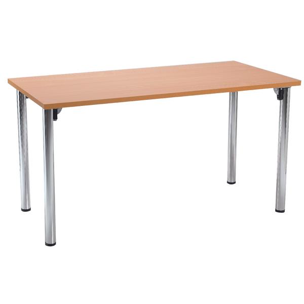 Serrion Bavarian Beech Rectangular Meeting Room Table Folding Leg