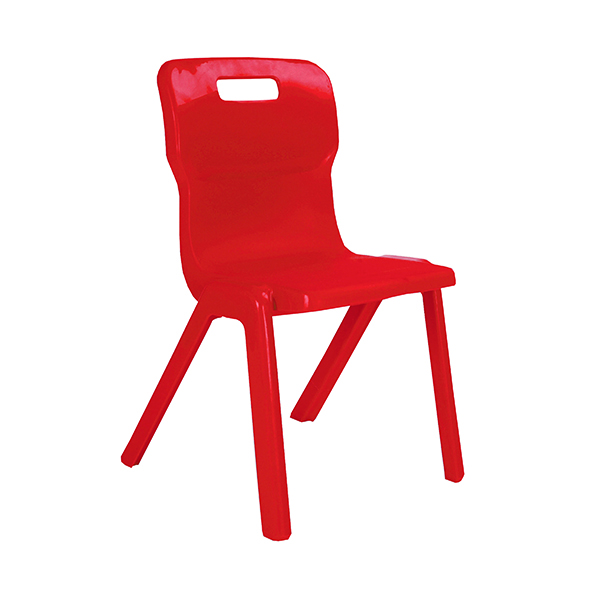 Titan One Piece Classroom Chair 432x407x690mm Red (Pack of 10)