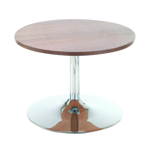 Arista Walnut 800mm Low Bistro Table with Trumpet Base