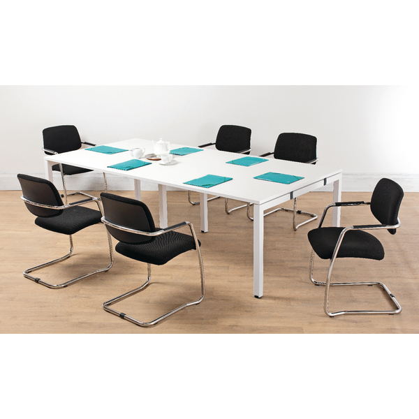 Arista White 2.4M Bench Boardroom Table (Dimensions: W2400 x D1200 x H730mm) KF838861