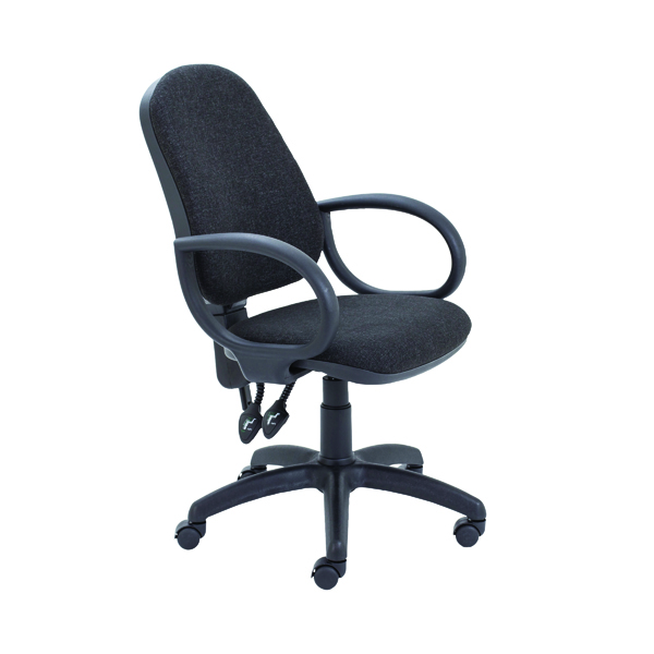 First High Back Operators Chair Charcoal with Fixed Arms