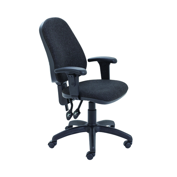 First High Back Operators Chair with Adjustable Arms 640x640x985-1175mm Charcoal