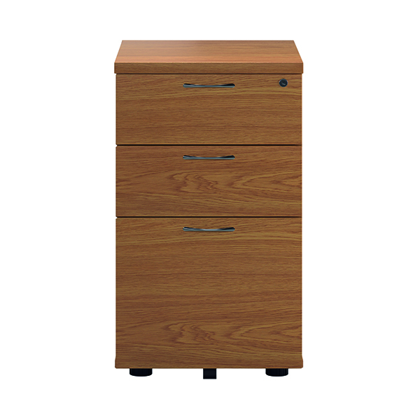 First Tall Under Desk Pedestal 3 Drawer Nova Oak TESUDP3NO