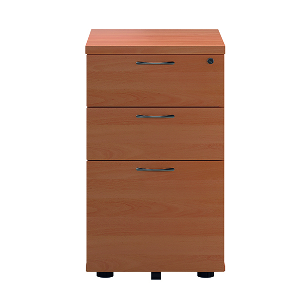 First Tall Under Desk Pedestal 3 Drawer Beech