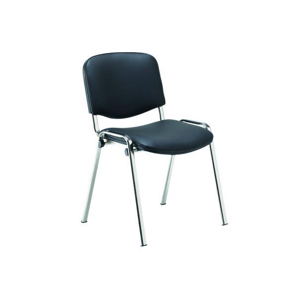Jemini Multipurpose Stacker Chair Chrome/Black Polyurethane