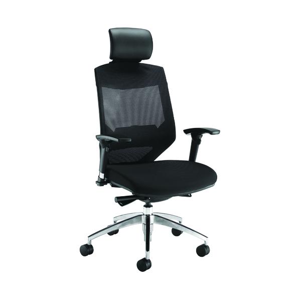 Arista Lotus Mesh High Back Chair With Headrest Black