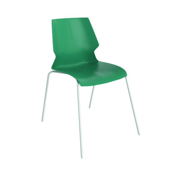 Jemini Uni 4 Leg Chair Green/White